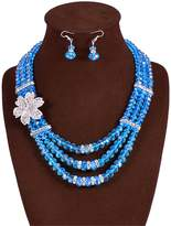 GBLXF Chain Crystal Beads Multi layer Nigerian National Style African Beads Necklace and Earring Set