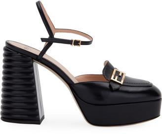 Fendi High-Heel Platform Slingback Loafers