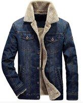 Mordenmiss Men's Long Sleeve Denim Jacket Coat With Front Pockets Fleece Navy XL