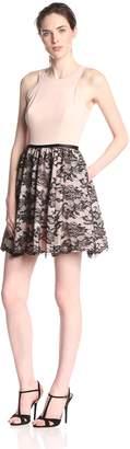 Aidan Mattox Aidan Women's Crepe and Lace Party Dress