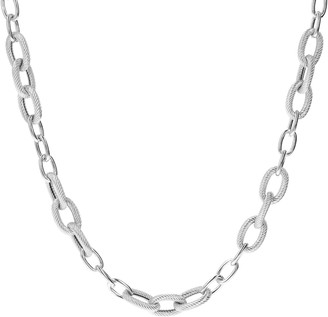 "Judith Ripka Sterling 24"" Polished & Textured Necklace, 49.7g"