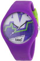 Breo Classic Unisex Quartz Watch with Multicolour Dial Analogue Display and Purple Rubber Strap B-TI-CLCZ2