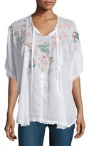 Johnny Was Sakura Short-Sleeve Embroidered Poncho