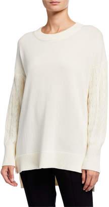 MICHAEL Michael Kors Crewneck Cable Sleeve Cotton Sweater