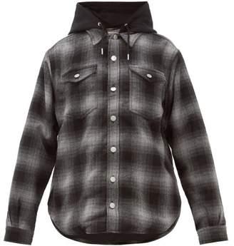 Eytys Alpha Tartan Hooded Shirt Jacket - Womens - Dark Grey