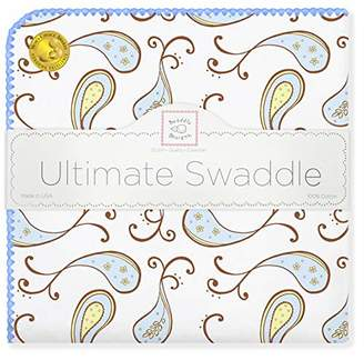 Swaddle Designs Ultimate Swaddle Blanket, Premium Cotton Flannel, Triplets Paisley, Pastel Blue