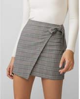 Express plaid wrap tie mini skirt