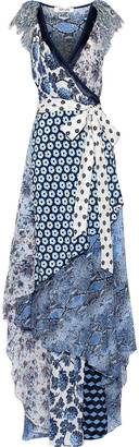 Diane von Furstenberg Ava Printed Silk-jersey, Crepe De Chine And Georgette Maxi Wrap Dress