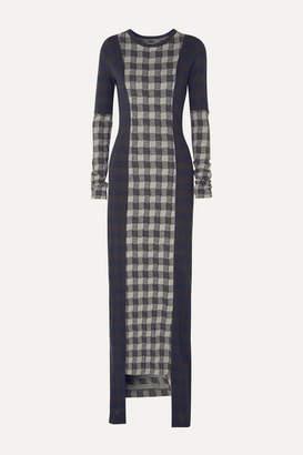 Maison Margiela Paneled Checked Jersey Maxi Dress - Navy