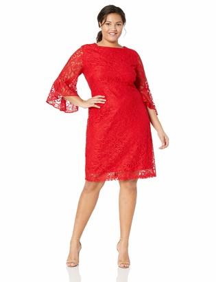 Gabby Skye Women's Plus Size Bell Sleeve Midi Lace Sheath Dress