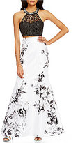 Sequin Hearts Beaded Neckline Illusion Yoke Lace Top to Floral Trumpet Skirt Long Two-Piece Dress