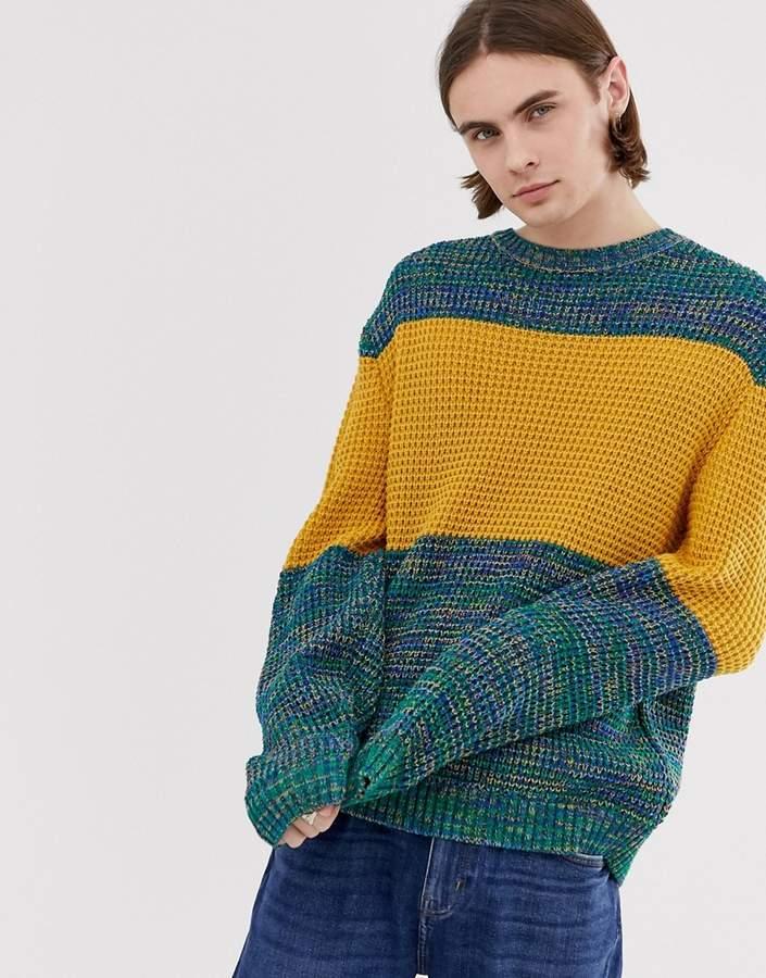 Asos Design DESIGN oversized textured jumper with chest stripe in blue twist