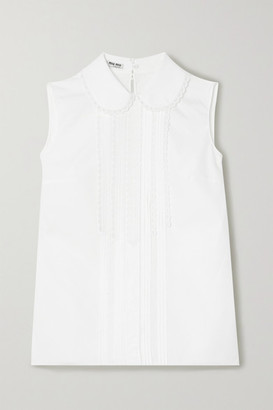 Miu Miu Lace-trimmed Pintucked Cotton-poplin Blouse - White