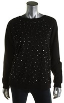 MICHAEL Michael Kors Womens Embellished Ribbed Trim Crewneck Sweater