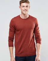 Asos Merino Wool Crew Neck Sweater in Rust Twist