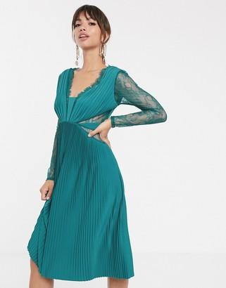 Asos Design DESIGN lace and pleat long sleeve midi dress
