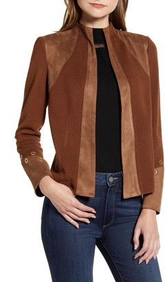 Ming Wang Faux Suede Trim Knit Jacket
