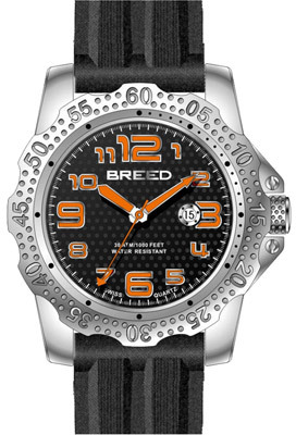 Breed Men's Deep 1901 - Black Silicone/Black Analog Watches