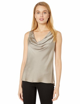 Halston Women's Sleeveless Cowl Neck Satin Top