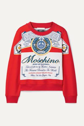 Moschino + Budweiser Printed Cotton-jersey Sweatshirt - Red