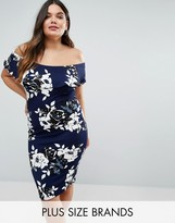 AX Paris Plus Midi Dress With Bardot Frill In Floral Print