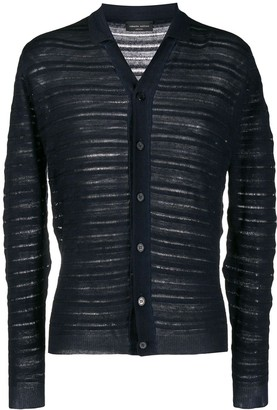 Roberto Collina Ribbed Knit Collared Cardigan