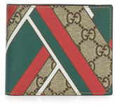Gucci GG Chevron Canvas Bi-Fold Wallet, Red/Green