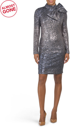 Long Sleeve Sequin Dress With Bow