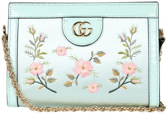 Gucci Floral Embroidered Shoulder Bag Sky Blue