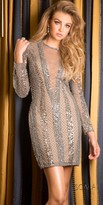 Scala Long Sleeve Beaded Cocktail Dress