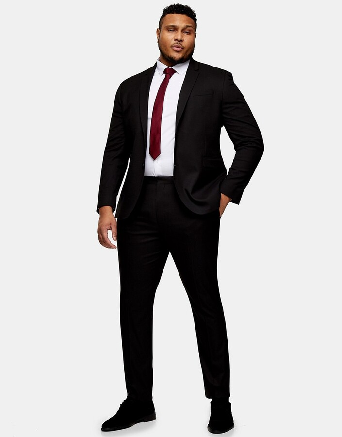 Thumbnail for your product : Topman Big & Tall skinny suit trouser in black