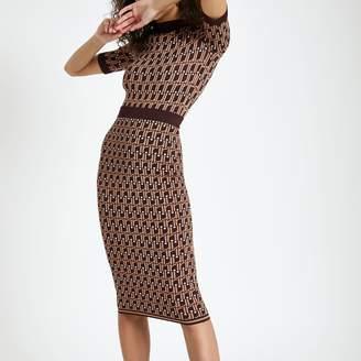 River Island Womens Brown RI monogram midi skirt