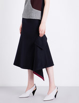 Victoria Beckham Asymmetric Pocket wool midi skirt