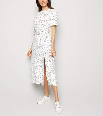 New Look Spot Side Split Midi Dress