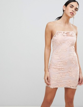 AX Paris Blush Floral Mesh Embroidered Bodycon Dress-Pink