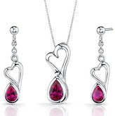 Peora Created Ruby Pendant Earrings Necklace Set Sterling Silver Heart Design 2.00 Carats