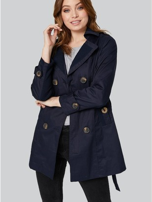 M&Co Button Front Short Trench Coat