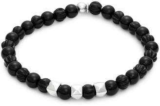 Tateossian Sterling Silver & Black Agate Stretch Bracelet