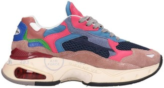 Premiata Sharky Sneakers In Rose-pink Leather And Fabric