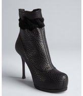 black leather and shearling platform ankle boots