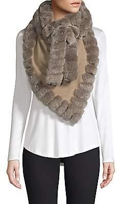 Glamour Puss Glamourpuss Women's Rabbit Fur Trimmed Cashmere Wrap Scarf