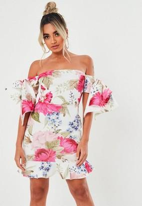 Missguided Petite White Floral Scuba Bow Bardot Mini Dress