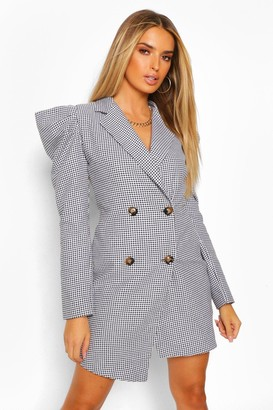 boohoo Woven Dogtooth Puff Sleeve Blazer Dress