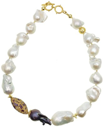 Farra Baroque Freshwater Pearls With Rhinestone Bordered Amethyst Short Necklace