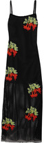 House of Holland Appliquéd Mesh Maxi Dress - Black