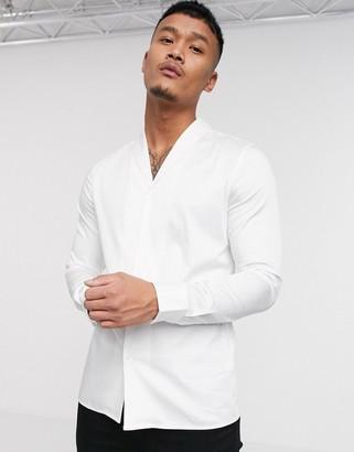 ASOS DESIGN Premium slim fit sateen shirt with shawl collar in white