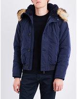 Armani Jeans Navy Faux-fur Trim Shell Parka Jacket