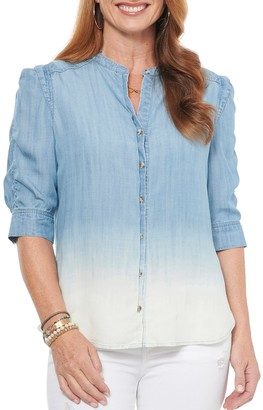 Democracy Ombre Ruched Elbow Chambray Shirt