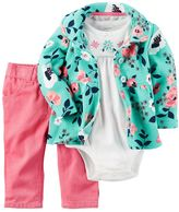 Carter's Baby Girl 3-pc. Floral Bodysuit, Cardigan & Pants Set