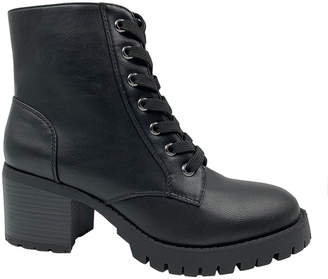 Bamboo Women's Casual boots BLACK - Black Chief Faux-Leather Combat Boot - Women